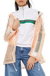 Topshop Frosted Marge Mac Rain Jacket Peach Multi