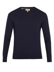 Burberry Kenneth Crew Neck Cashmere Sweater Navy