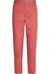 Isabel Marant Cotton Poplin Straight Leg Pants Coral