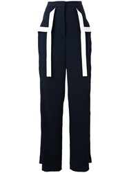 Dion Lee Contrast Stripe Palazzo Trousers Black