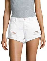 Noisy May Distressed Denim Shorts Bright White