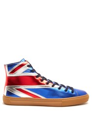 Gucci Major High Top Leather Trainers Blue Multi