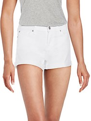 7 For All Mankind Roll Up Cuffed Denim Shorts Clean White