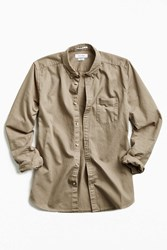 Urban Outfitters Stevens Denim Button Down Shirt Khaki