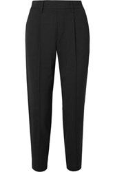 Vince Cropped Crepe Straight Leg Pants Black
