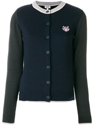 Kenzo Mini Tiger Cardigan Women Wool M Blue