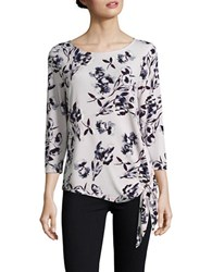Ivanka Trump Three Quarter Sleeve Floral Self Tie Blouse Lilac