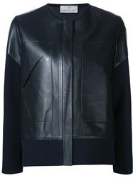 Maison Ullens Cotton Sleeves Leather Jacket Blue