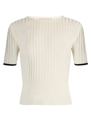 Brock Collection Kylie Silk Knit Crew Neck Top White