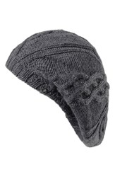 Helen Kaminski Cable Knit Wool Beret Grey Charcoal
