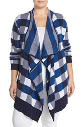 Plus Size Women's Foxcroft Buffalo Check Open Front Cardigan