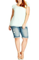 Plus Size Women's City Chic 'Turn Up' Dirty Wash Distressed Denim Shorts