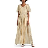 Thierry Colson Sabina Pleated Cotton Blend Gauze Maxi Dress Gold