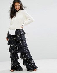Glamorous Tiered Wide Leg Trousers In Dark Floral Black