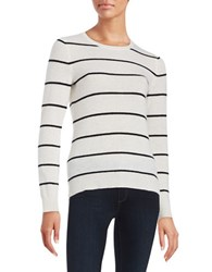 Lord And Taylor Striped Cashmere Sweater Ivory