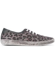 Marc Jacobs Leopard Print Distressed Trainers Grey