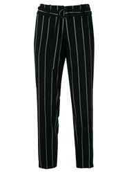 Cambio Striped Cropped Trousers Black