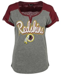 5Th And Ocean Women's Washington Redskins Rolled Sleeve T Shirt Gray Burgundy