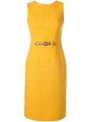 Paule Ka Belted Fitted Dress Yellow
