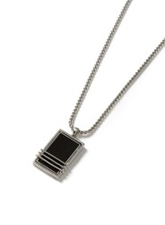 Topman Black Silver Look Look Trapped Stone Necklace