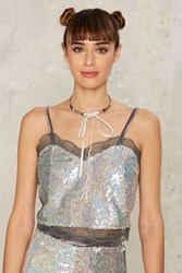 Disco Baby Sequin Crop Top Gray