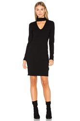 Eight Sixty Long Sleeve Ribbed Dress Black