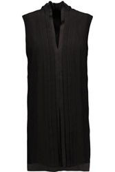 Adam By Adam Lippes Satin Trimmed Pleated Crepe Blouse Black