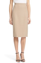 Women's Theory 'Hemdall' Stretch Cotton Midi Skirt Sand Khaki
