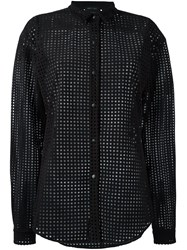 Anthony Vaccarello Mesh Button Down Shirt Black