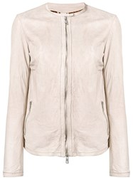 Giorgio Brato Slim Leather Jacket Neutrals
