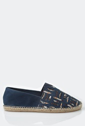 Forever 21 Feather Print Espadrille Slip Ons Navy