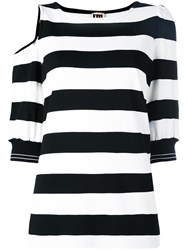 I'm Isola Marras Striped Cut Out T Shirt Black
