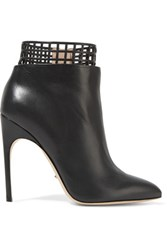 Sergio Rossi Laser Cut Leather Ankle Boots Charcoal