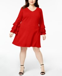 Love Squared Trendy Plus Size Tiered Sleeve A Line Dress