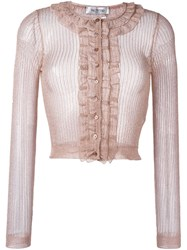 Valentino Cropped Cardigan Pink Purple