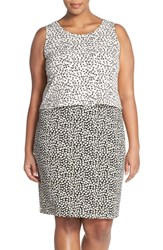 Plus Size Women's Vince Camuto 'Shadow Forms' Print Block Sleeveless Popover Dress
