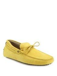 Tod's Gommini Pebbled Leather Drivers Yellow