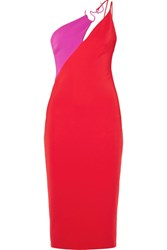 Cushnie Et Ochs Asymmetric Two Tone Stretch Crepe Midi Dress Red
