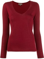 N.Peal V Neck Sweater Red