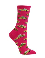 Hot Sox Taxi Cab Printed Socks Bright Pink