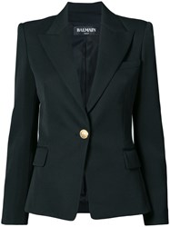 Balmain Tailored Slim Fit Jacket Virgin Wool Viscose Cotton Black