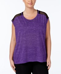 Material Girl Active Plus Size Mesh Trim Top Only At Macy's Purple Party