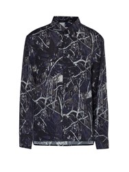 Lanvin Forest Camouflage Print Oversized Shirt Navy