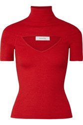 Beaufille Zinner Cutout Ribbed Stretch Knit Turtleneck Top Red