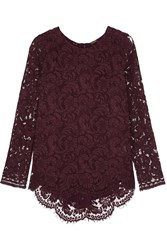 Adam By Adam Lippes Pleated Lace Top Burgundy