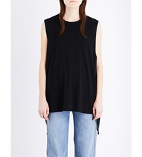 Helmut Lang Side Tie Cotton And Cashmere Blend Top Black