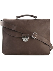 Orciani Foldover Top Briefcase Brown