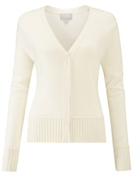 Pure Collection Ribbed Trim V Neck Cardigan Soft White