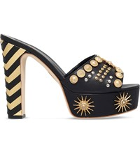 Fausto Puglisi Zigzag Heel Leather Mule Sandals Black