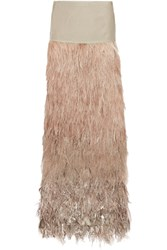 Tom Ford Velvet And Tiered Ombre Feather Maxi Skirt Antique Rose